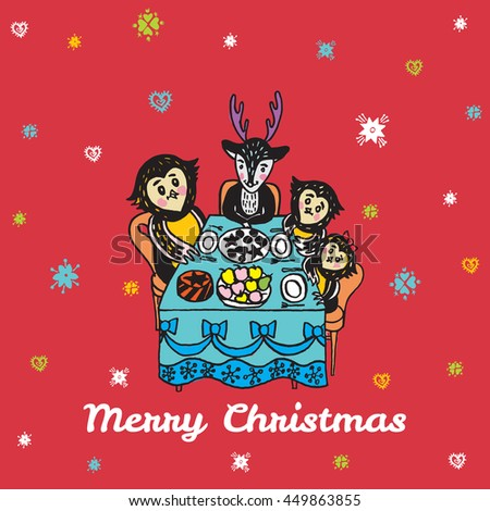 Christmas card with hand drawn animals. Vector hand drawn illustration of Reindeer and Owls characters on red background. - stock vector
