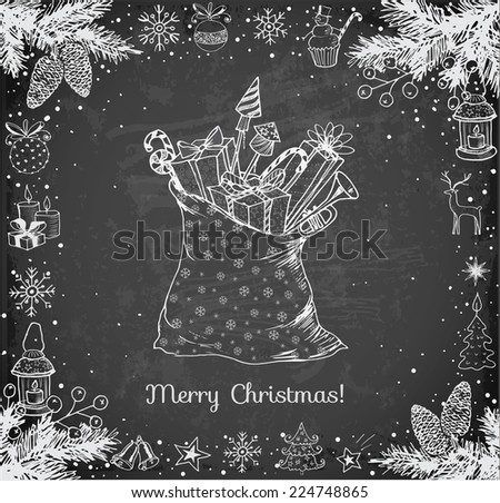Christmas card with hand-drawn snowflakes, snowman, lanterns, candles and bag full of gifts on blackboard. Vector sketch illustration. Doodle christmas card. - stock vector