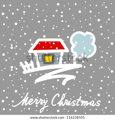 Christmas card with house tree and snowflakes - stock vector