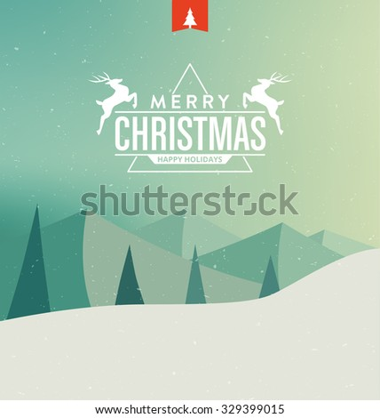 Christmas Card with Landscape - Merry Christmas and Happy Holidays - Typographic Greeting Design - stock vector