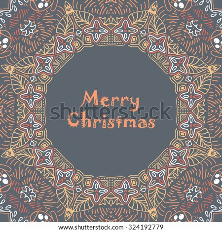 Christmas card with Merry Christmas text with decorations. Nature Floral ornament as a snowflake circle silhouette: berry, flower. Brown, red, purple, yellow, beige, tan colors. Vector eps10. - stock vector