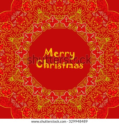 Christmas card with Merry Christmas text with decorations. Nature Floral ornament as a snowflake circle silhouette with berry, flower. Red, yellow, orange colors. Vector illustration eps10. - stock vector