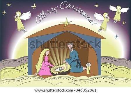Christmas Card With Nativity Scene. Jesus Christ, Virgin Mary, And Joseph.  Desert