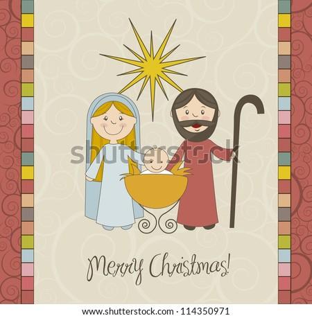 Christmas Card With Nativity Scene, Vintage. Vector Illustration