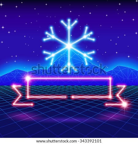Christmas card with neon snowflake, ribbon and 80s computer background - stock vector