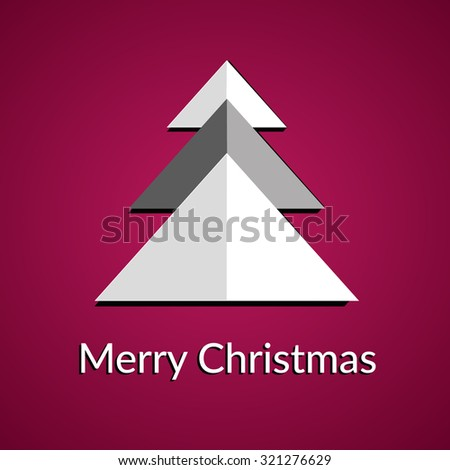 Christmas card with paper tree  - stock vector