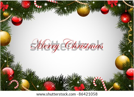Christmas card with pine garland frame - stock vector
