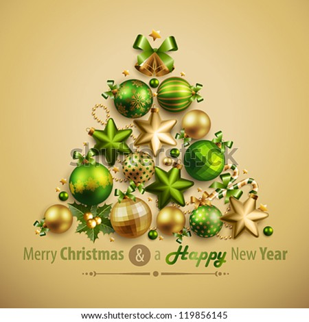 Christmas card with place for text. Vector illustration. - stock vector