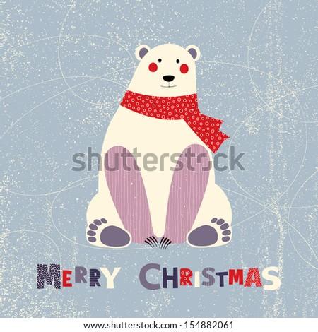 Christmas card with polar bear - stock vector
