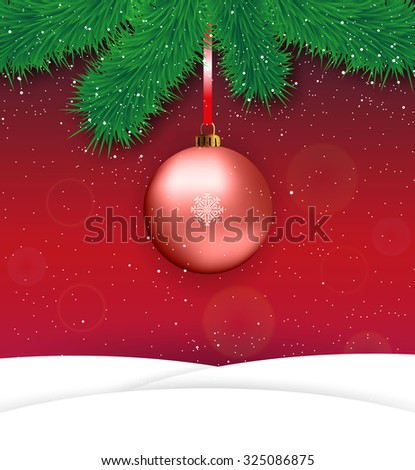 Christmas card with red ball in center, snow hills and fur branches at red background, Vector illustration, template for greeting card. - stock vector