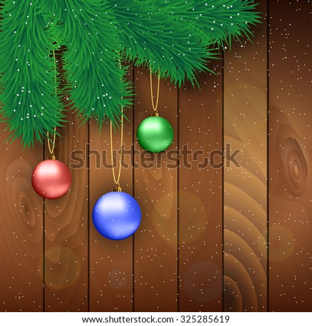 Christmas card with red, blue and green glass balls,  fur branches at wooden background, Vector illustration, template for greeting card. - stock vector