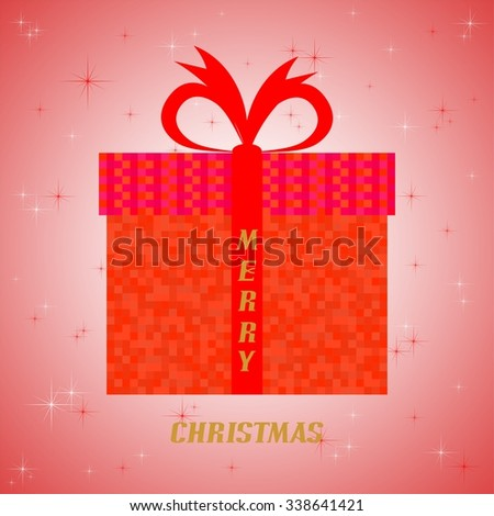 Christmas card with red packets with a red square with a red ribbon with the words Merry Christmas on a red background with luminous red and white Star