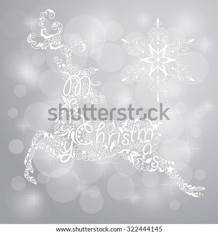 Christmas card with reindeer.  - stock vector