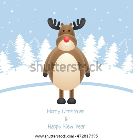 Christmas card with reindeer