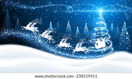 Christmas card with reindeer and Santa on background of magic trees - stock vector