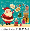 Christmas card with Santa Claus - stock