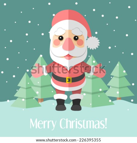Christmas card with Santa Claus and fir trees - stock vector