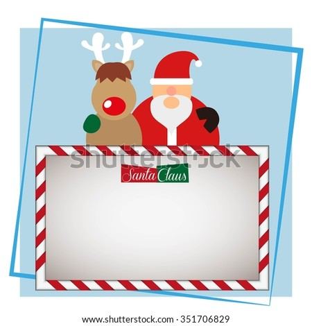 christmas card with Santa Claus and Rudolph th reindeer - stock vector