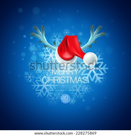 Christmas card with Santa Claus hat and reindeer antlers - stock vector