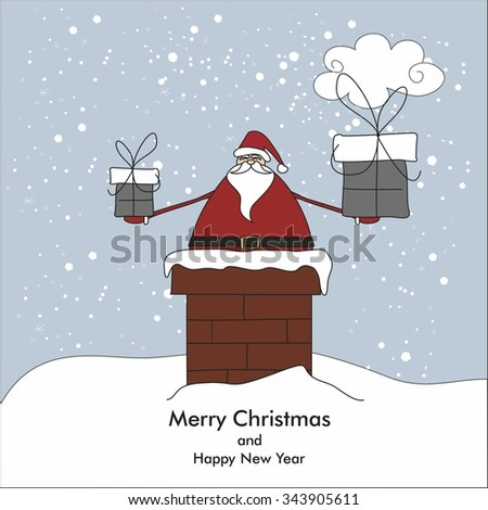 Christmas card with Santa Claus in chimney - stock vector