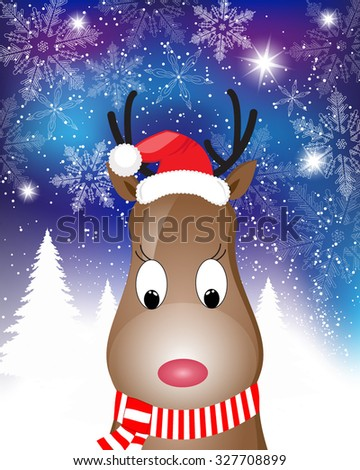 Christmas Card with Santa Deer - vector christmas illustration template with copy space.
