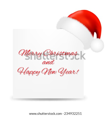 Christmas Card With Santa Hat With Gradient Mesh, Vector Illustration - stock vector