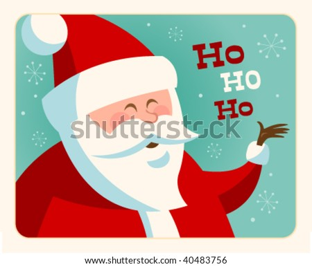 Christmas card with Santa. Vector. Editable. - stock vector