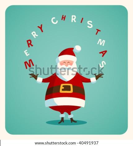 Christmas card with Santa. Vector. Editable. - stock vector