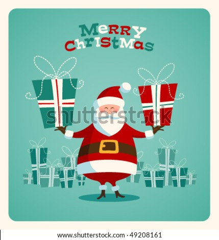 Christmas card with Santa. Vector. Editable - stock vector