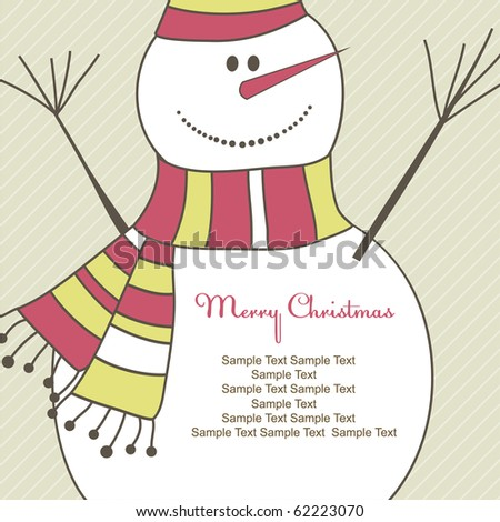 Christmas card with smiling snow man. Vector illustration - stock vector