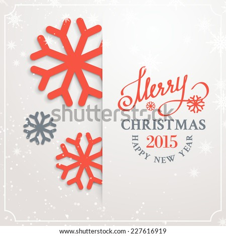 Christmas card with snow flakes over white background. Vector illustration. - stock vector