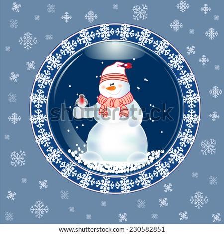 Christmas card with snow globe.  - stock vector