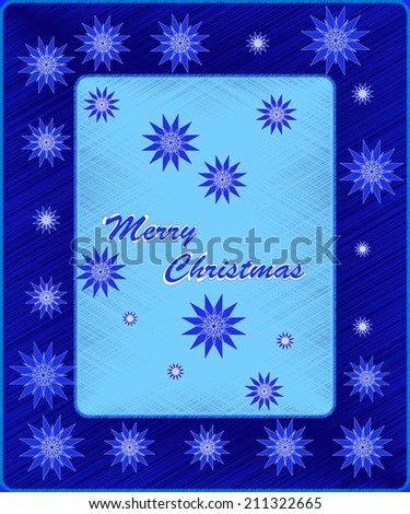 christmas card with snowflake. letter in a frame on blue background, vector