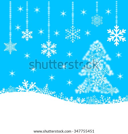 Christmas card with snowflakes and fir-tree on blue background for your design. Winter card Merry Christmas, New Year and Happy Holiday. Vector illustration. - stock vector