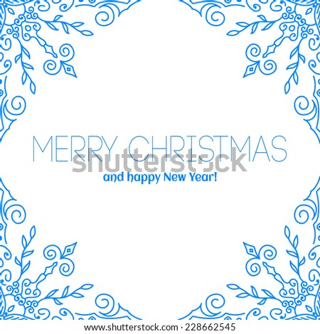 Christmas card with snowflakes. Merry Christmas! Template congratulations christmas. Hand drawn snowflake - stock vector