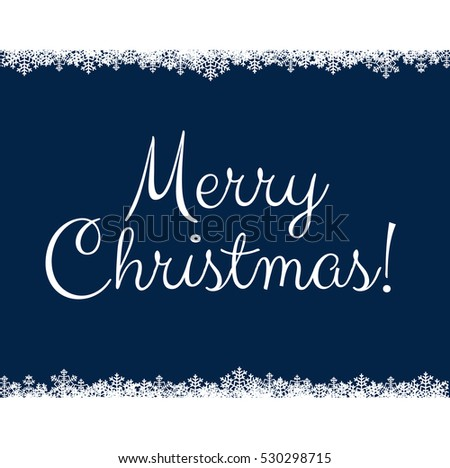Christmas card with snowflakes on dark blue background