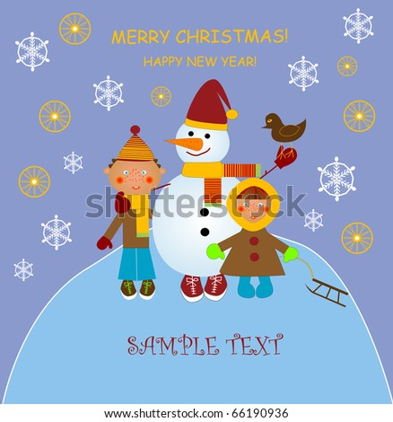 Christmas card with snowman and children - stock vector