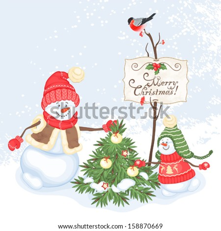 Christmas card with snowman and Christmas tree, vector illustration.