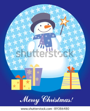 christmas card with snowman and gift box