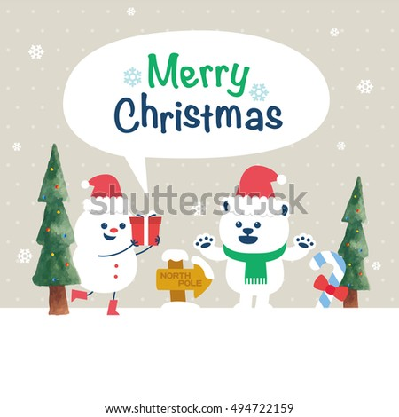 Christmas card with snowman and polar bear