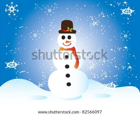 Christmas card with snowman and snowflakes - stock vector