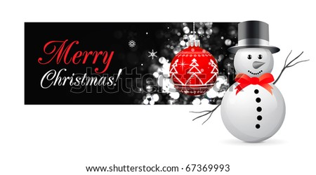 Christmas card with snowman and tree sphere on black