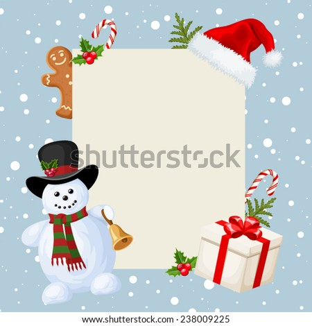 Christmas card with snowman, decorations and falling snow. Vector illustration. - stock vector