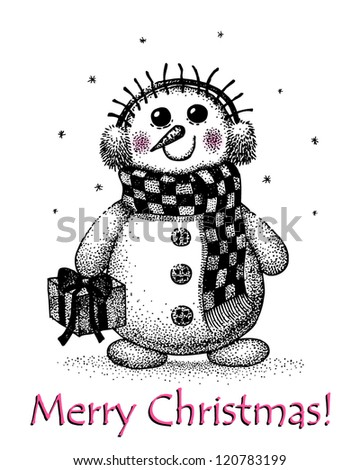 christmas card  with snowman drawing by hand - stock vector