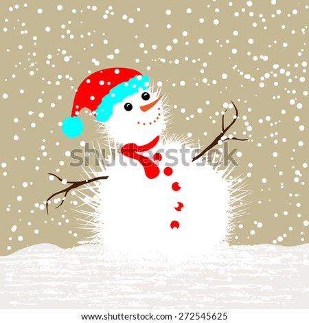Christmas Card with snowman -Merry Christmas and Happy New Year - stock vector