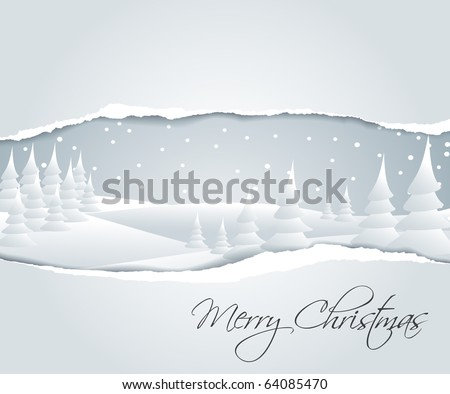 Christmas card with snowy winter landscape - stock vector