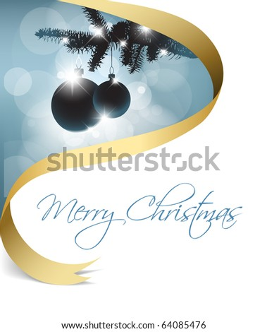 Christmas card with some decorations and golden ribbon - stock vector