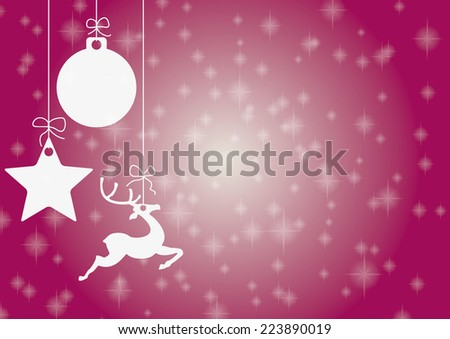 Christmas card with star, bauble and rentier. Eps 10 vector file.