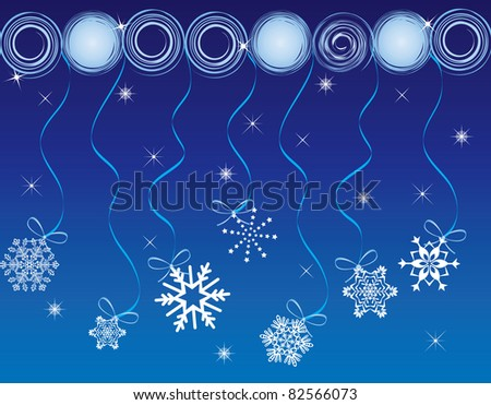 Christmas card with stars and balls - stock vector