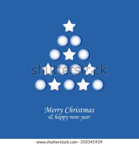 Christmas card with tree and balls on blue background - stock vector
